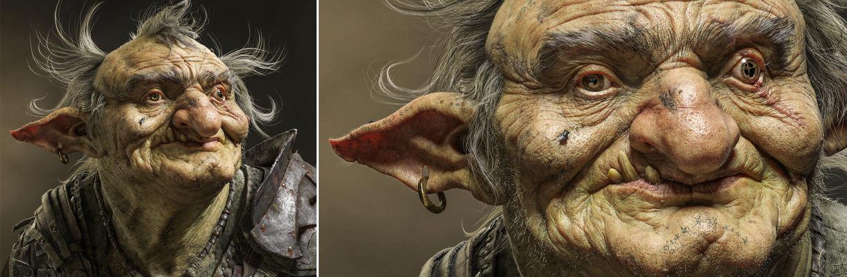 在現實的地精上工作:面部和盔甲雕刻工作流程