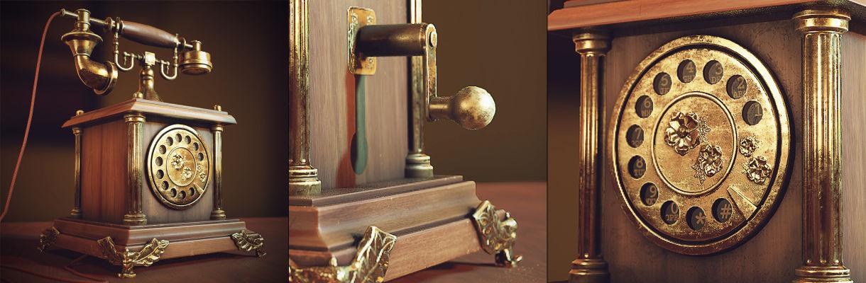 在3ds Max和Substance Painter中創建古董電話
