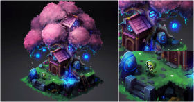 Crafting a 3D Scene with a 2D Style