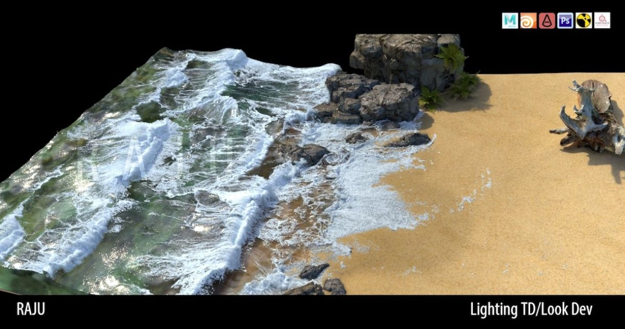 Beach Rendering with Substance, Maya & Houdini