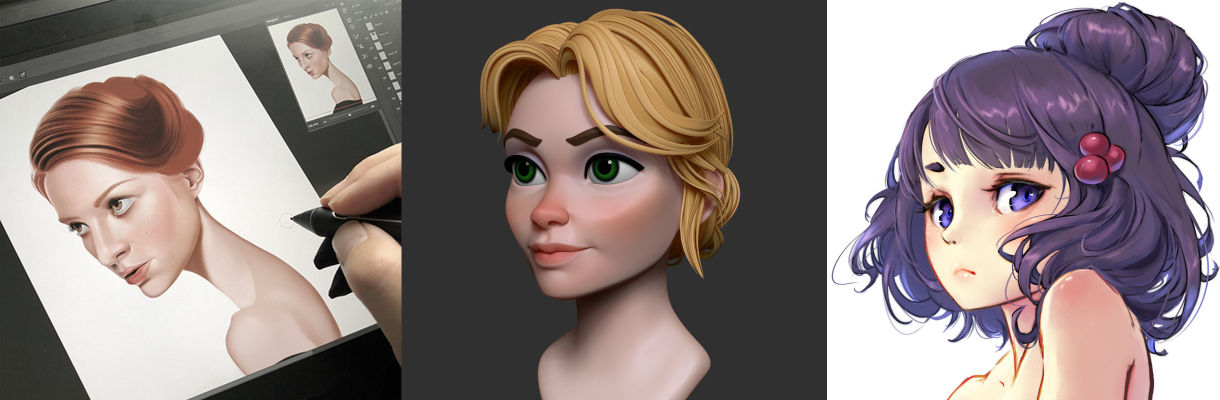 Weekly Digest: 2D & 3D Hair Tutorials at Cubebrush
